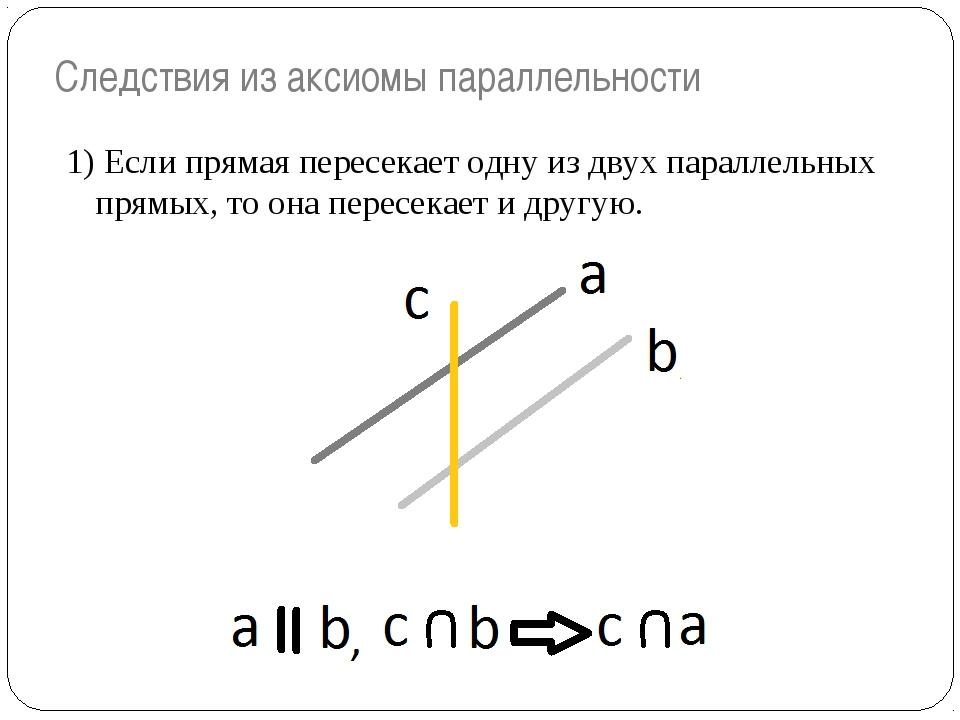 Следствия из аксиомы параллельности 1) Если прямая пересекает одну из двух па...