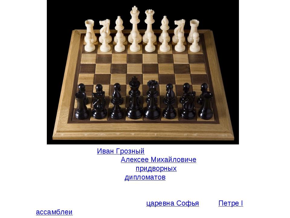 Играл в шахматыИван Грозный(по преданию, он и умер за шахматной доской). Пр...