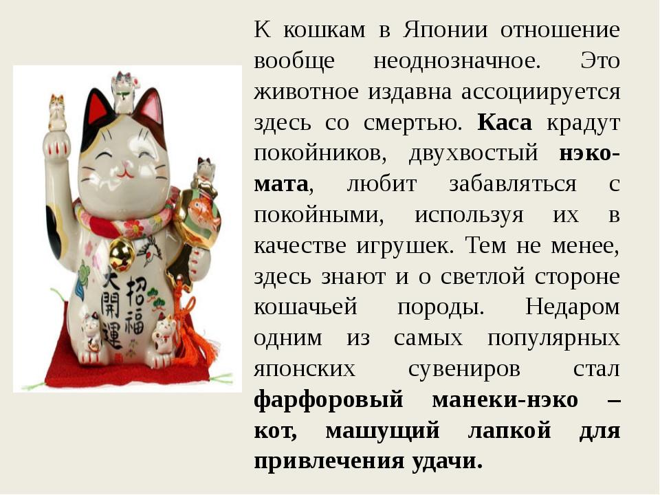К кошкам в Японии отношение вообще неоднозначное. Это животное издавна ассоци...