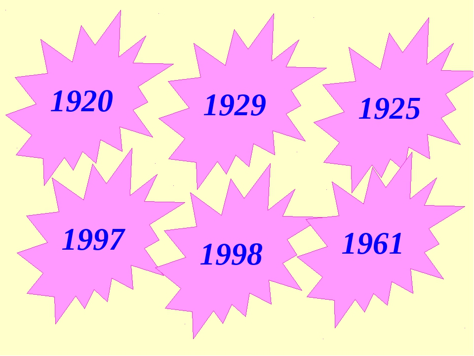 1920 1929 1925 1997 1998 1961