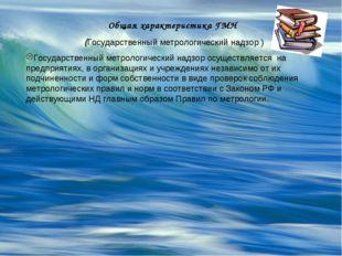 Общая характеристика ГМН (Государственный метрологический надзор ) Государств