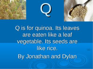 Q Q is for quinoa. Its leaves are eaten like a leaf vegetable. Its seeds are