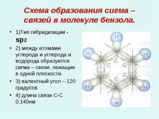 Схема образования сигма – связей в молекуле бензола. 1)Тип гибридизации - sр2