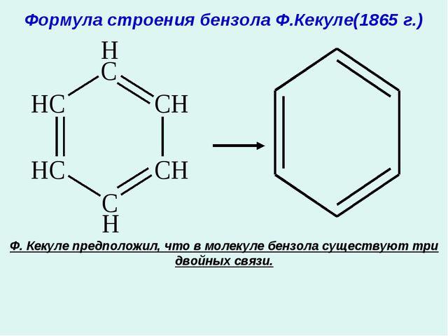 Формула строения бензола Ф.Кекуле(1865 г.) Ф. Кекуле предположил, что в молек...