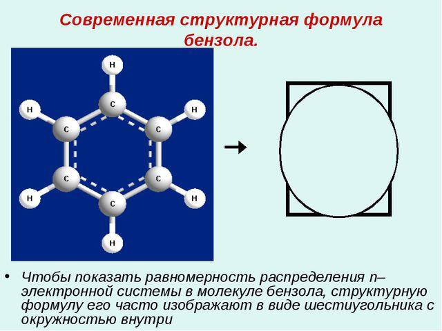 Современная структурная формула бензола. Чтобы показать равномерность распред...