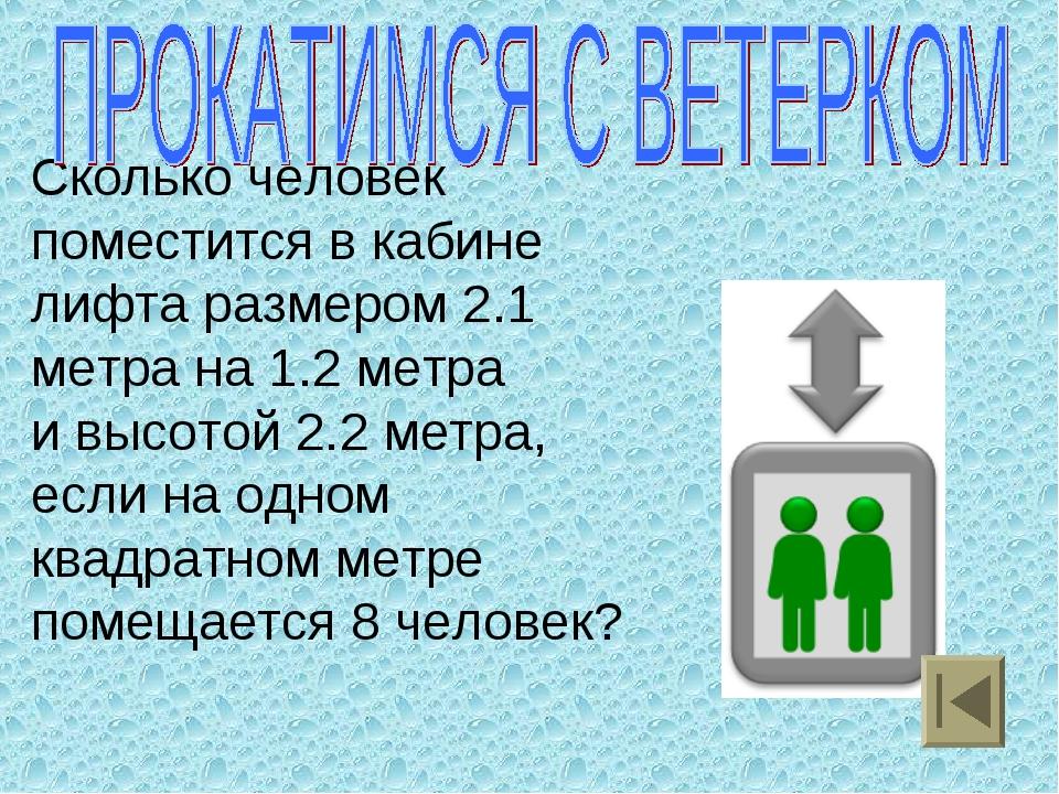 Сколько человек поместится в кабине лифта размером 2.1 метра на 1.2 метра и...