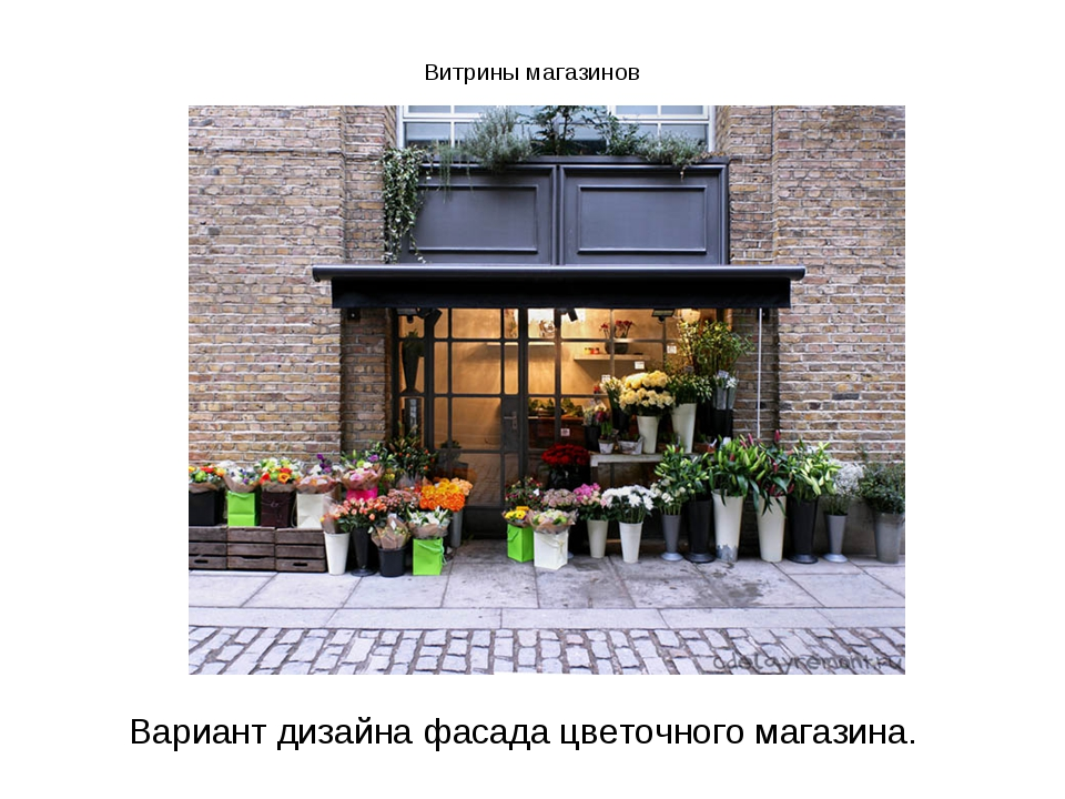 Витрины магазинов  Вариант дизайна фасада цветочного магазина.
