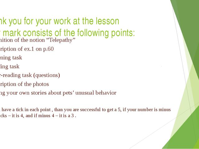 Thank you for your work at the lesson Your mark consists of the following poi...