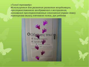 «Тихий тренажёр» Используется для развития развитие координации, пространстве