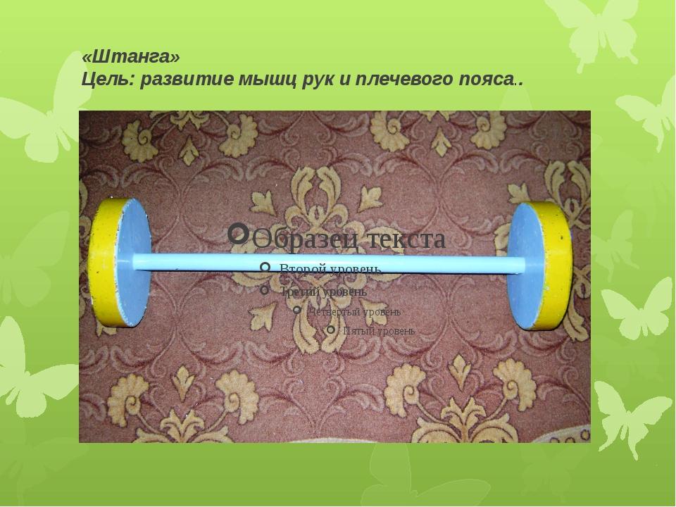 «Штанга» Цель: развитие мышц рук и плечевого пояса..