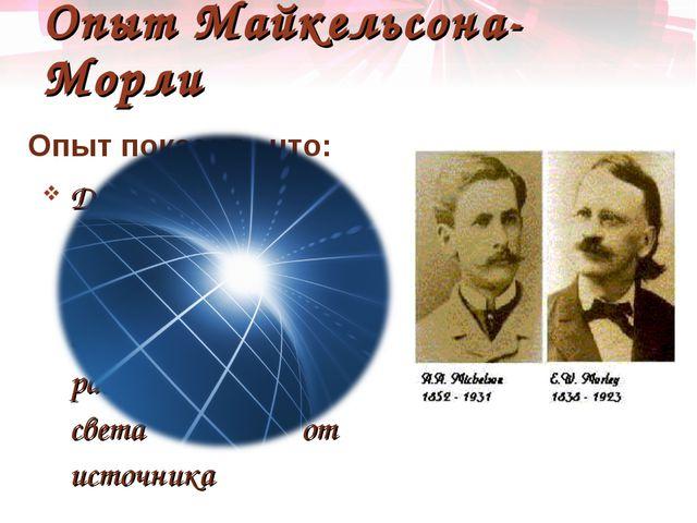 Опыт Майкельсона-Морли Опыт показал , что: Движение Земли вокруг Солнца не вл...