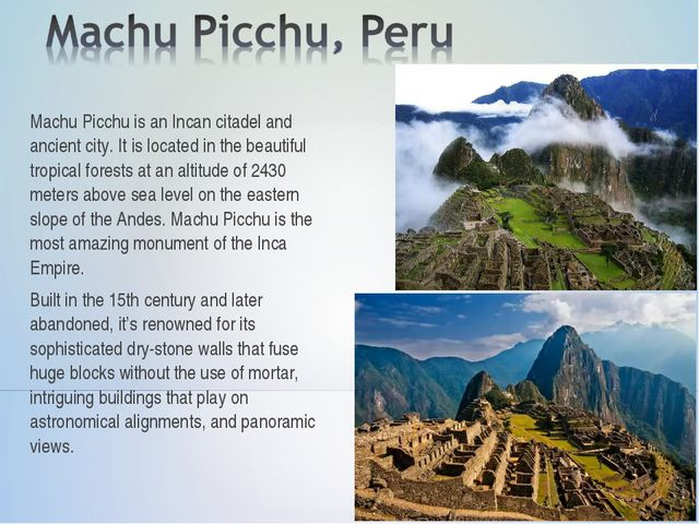 Machu Picchu is an Incan citadel and ancient city. It is located in the beaut...