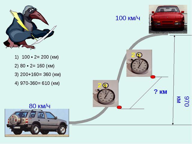 ? км 100 км/ч 80 км/ч 970 км 100 • 2= 200 (км) 2) 80 • 2= 160 (км) 3) 200+160...