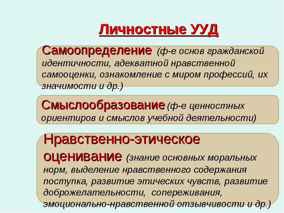 Личностные УУД Самоопределение (ф-е основ гражданской идентичности, адекватно...
