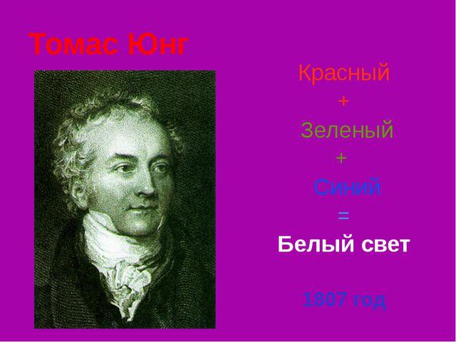 Томас Юнг Красный + Зеленый + Синий = Белый свет 1807 год