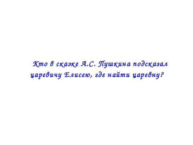  Кто в сказке А.С. Пушкина подсказал царевичу Елисею, где найти царевну?