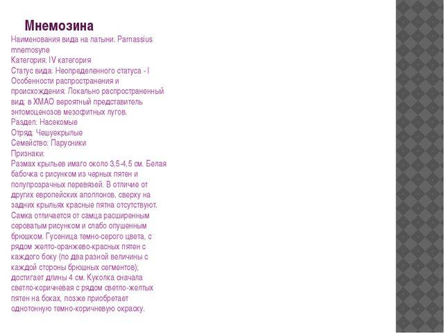 Мнемозина Наименования вида на латыни: Parnassius mnemosyne Категория: IV кат...