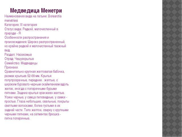 Медведица Менетри Наименования вида на латыни: Borearctia menetriesi Категори...