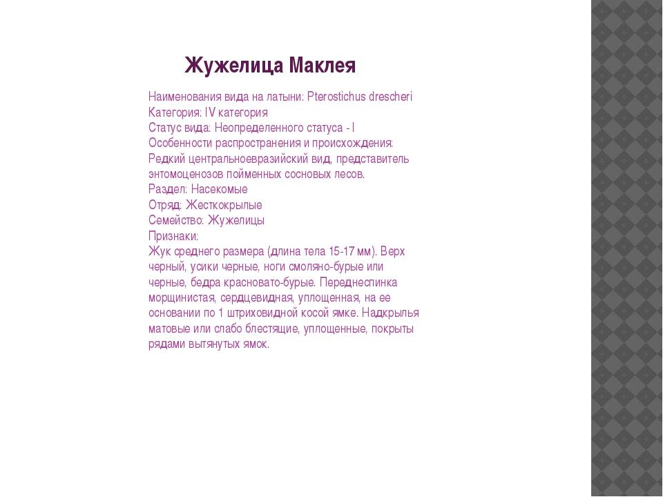 Жужелица Маклея Наименования вида на латыни: Pterostichus drescheri Категория...