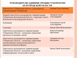 РУКОВОДИТЕЛИ АДМИНИСТРАЦИИ ГУБЕРНАТОРА БЕЛГОРОДСКОЙ ОБЛАСТИ Заместитель Губер