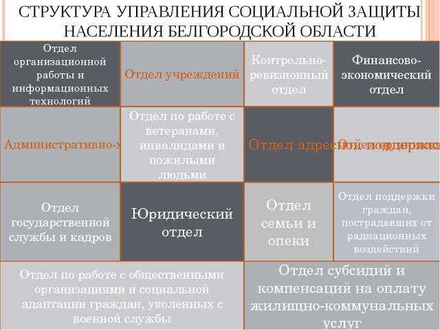 СТРУКТУРА УПРАВЛЕНИЯ СОЦИАЛЬНОЙ ЗАЩИТЫ НАСЕЛЕНИЯ БЕЛГОРОДСКОЙ ОБЛАСТИ Админис...