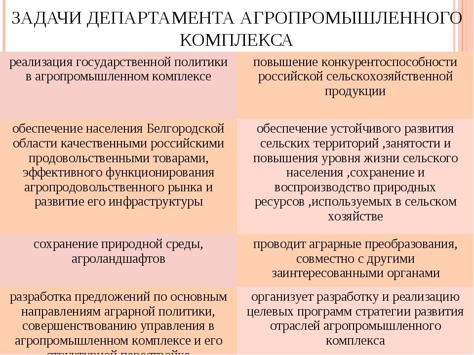 ЗАДАЧИ ДЕПАРТАМЕНТА АГРОПРОМЫШЛЕННОГО КОМПЛЕКСА реализация государственной по...