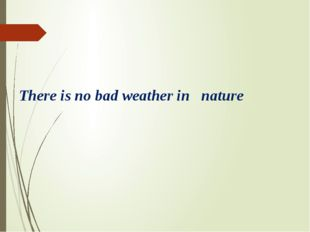 There is no bad weather in nature