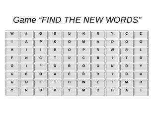 """Game """"FIND THE NEW WORDS"""""""