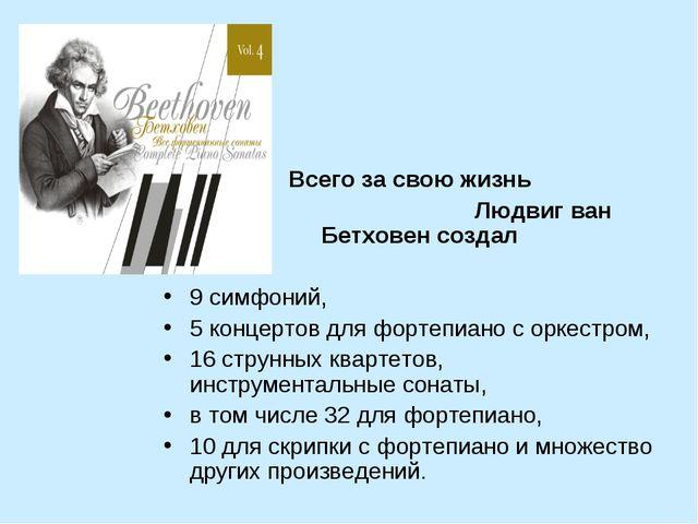 Всего за свою жизнь Людвиг ван Бетховен создал 9 симфоний, 5 концертов для ф...