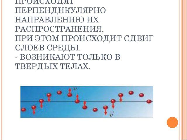 КОЛЕБАНИЯ СРЕДЫ ПРОИСХОДЯТ ПЕРПЕНДИКУЛЯРНО НАПРАВЛЕНИЮ ИХ РАСПРОСТРАНЕНИЯ, ПР...