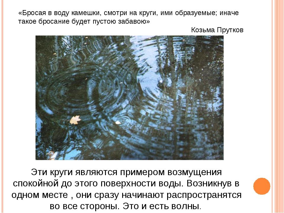 «Бросая в воду камешки, смотри на круги, ими образуемые; иначе такое бросание...