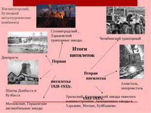 Итоги пятилеток Первая пятилетка 1928-1932г. Вторая пятилетка 1933-1937г. Аз