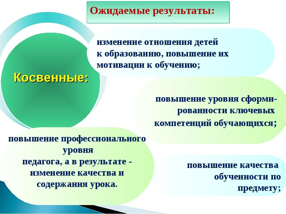 изменение отношения детей к образованию, повышение их мотивации к обучению; п...