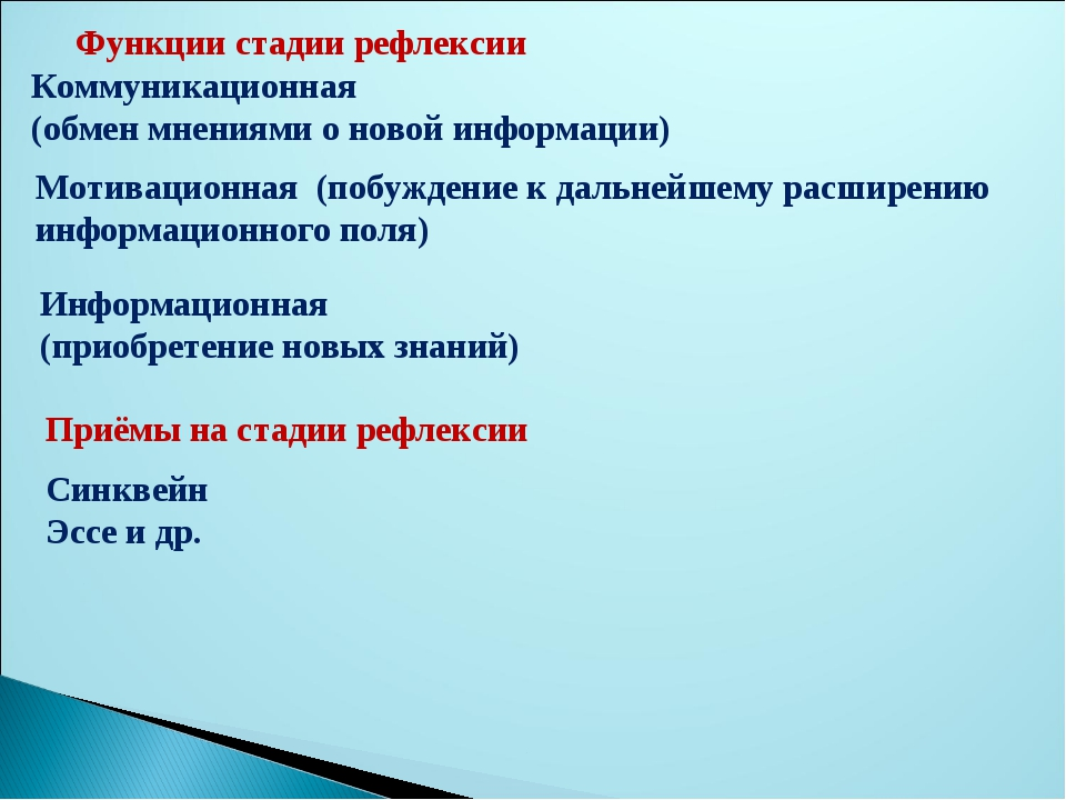 Функции стадии рефлексии Коммуникационная (обмен мнениями о новой информации)...