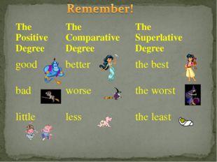 The Positive DegreeThe Comparative DegreeThe Superlative Degree goodbetter