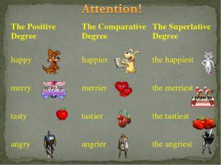 The Positive DegreeThe Comparative DegreeThe Superlative Degree happyhappi