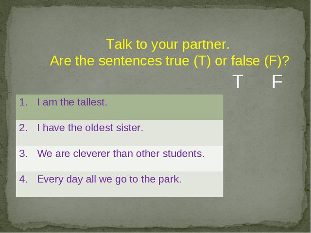 Talk to your partner. Are the sentences true (T) or false (F)? T F 1.I am th...