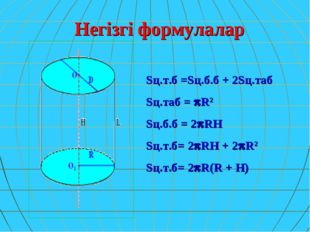 Негізгі формулалар Sц.т.б =Sц.б.б + 2Sц.таб Sц.таб = R2 Sц.б.б = 2RH Sц.т.б
