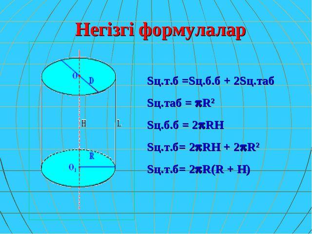 Негізгі формулалар Sц.т.б =Sц.б.б + 2Sц.таб Sц.таб = R2 Sц.б.б = 2RH Sц.т.б...