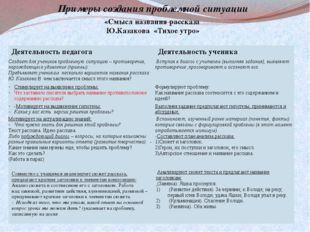 Примеры создания проблемной ситуации «Смысл названия рассказа Ю.Казакова «Тих