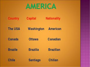 Country Capital Nationality The USA Washington American Canada Ottawa Canadi