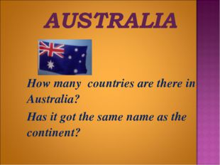 How many countries are there in Australia? 	Has it got the same name as the