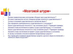 «Мозговой штурм» Какими грамматическими категориями обладает имя существитель