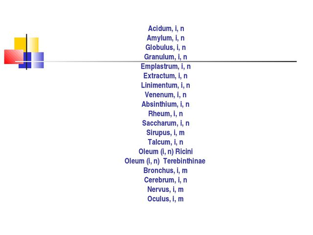Acidum, i, n Amylum, i, n Globulus, i, n Granulum, i, n Emplastrum, i, n Ext...
