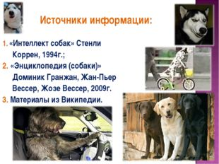 Источники информации: «Интеллект собак» Стенли Коррен, 1994г.; 2. «Энциклопе