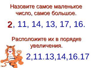 Назовите самое маленькое число, самое большое. 2, 11, 14, 13, 17, 16. Располо