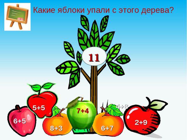 Какие яблоки упали с этого дерева? 11 6+5 5+5 7+4 6+7 8+3 2+9 4+8