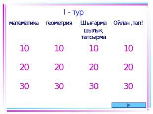 I - тур математикагеометрияШығарма шылық тапсырмаОйлан ,тап! 10101010 2