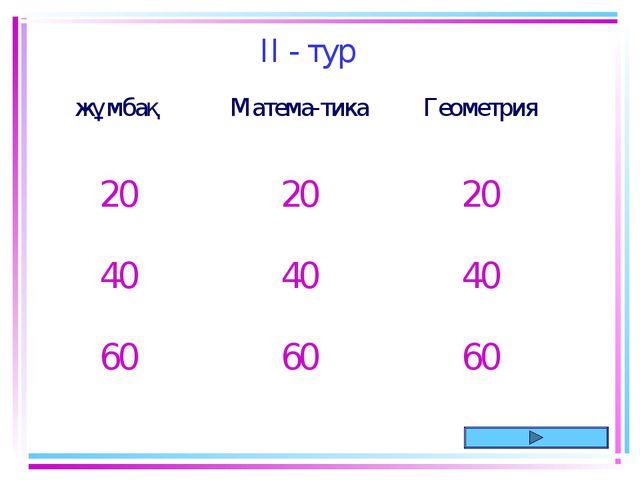 II - тур жұмбақМатема-тикаГеометрия 202020 404040 606060