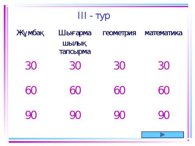 III - тур ЖұмбақШығарма шылық тапсырмагеометрия математика 30303030 60...